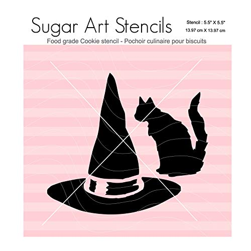 Fall Halloween cookie stencil Witch hat Black cat Nb2068 -