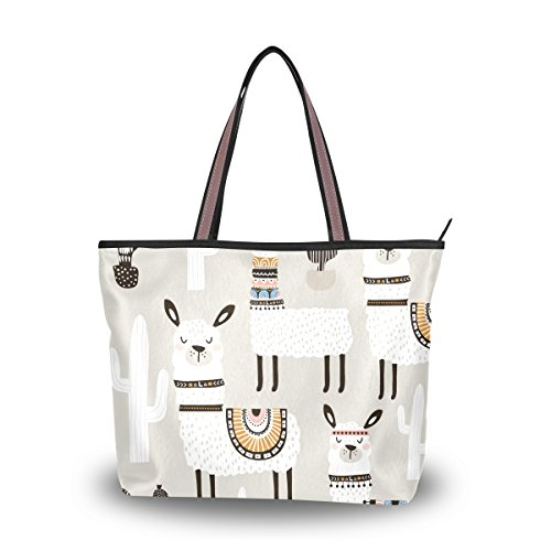 - Women Large Tote Top Handle Shoulder Bags White Llama Partern Ladies Handbag