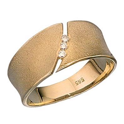 Schlichter goldring  Schlichter Ring Damenring mit 3 Brillanten 585 Gold m ...