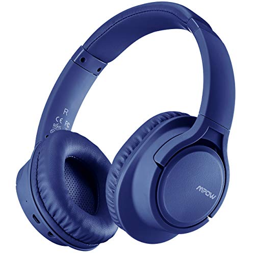 Mpow H7 Bluetooth Headphones Over Ear, 18 Hrs Comfortable Wireless Headphones w/Bag, Rechargeable HiFi Stereo Headset, CVC6.0 Headphones with Microphone for Cellphone Tablet(Blue)