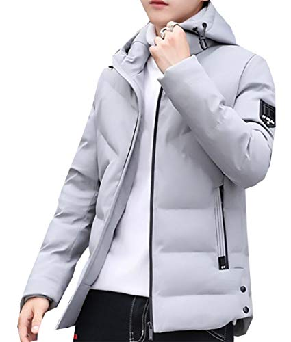 Long Zipper Outdoor EKU Sleeve Packable Down Hooded Men's Puffer Grey Jacket BxF4nO