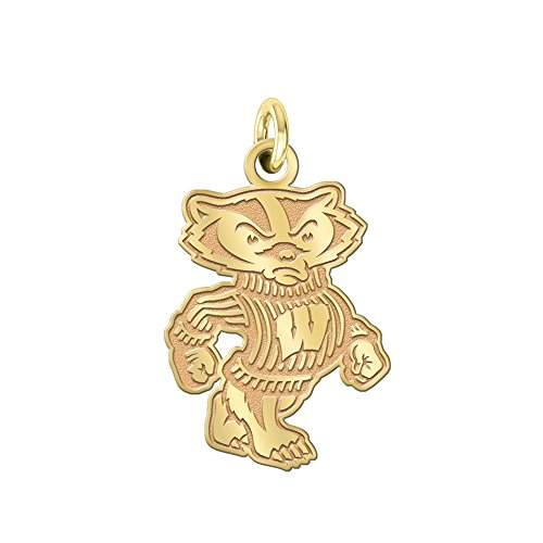 College Jewelry University of Wisconsin Badgers Gold Charm 14K Yellow Gold Natural Finish Cut Out Logo Charm (3/4