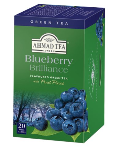 Blueberry Brilliance Flavoured Green Ahmad Tea - 20 Foil Bags