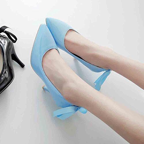 Scarpe Basse Con Tacco A Spillo Con Lacci A Punta Smussata Basse Easemax Da Donna Eleganti Blu