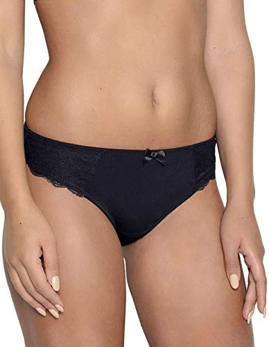 After Eden D-Cup & Up 20.35.7500-020 Women's Florence Black Lace Thong XLGE