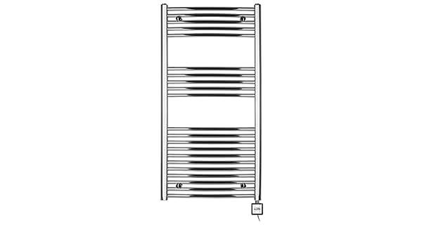 Radiador toallero eléctrico H 1175 x 600 ancho,con temporizador curvada de cromo: Amazon.es: Bricolaje y herramientas