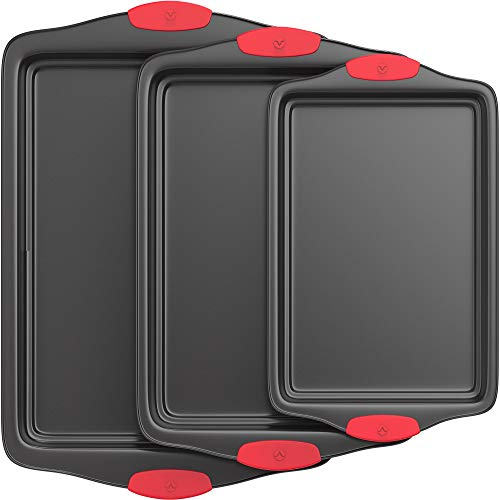 - Vremi 3 Piece Baking Sheets Nonstick Set - Professional Non Stick Sheet Pan Set for Baking - Carbon Steel Baking Pans Cookie Sheets with Red Silicone Handles - has Quarter and Half Sheet Pans