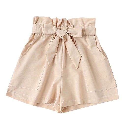 ❤️Sumeimiya Womens Elastic Short Pants, high Waist Wide Leg Loose Hot Pants Summer Beach Shorts Trousers with Pocket Beige