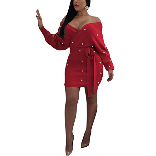 Sexy Hot Red Dress (Aro Lora Women's Sexy Bead Off Shoulder Deep V Neck Backless Long Sleeve Bodycon Mini Dress With Belt Medium Red)