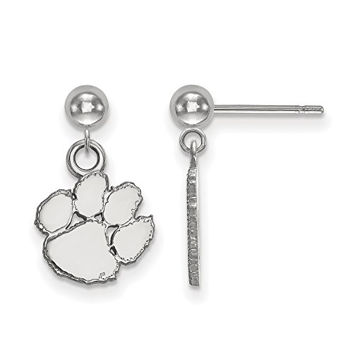 Clemson Earrings Dangle Ball (14k White Gold) by LogoArt
