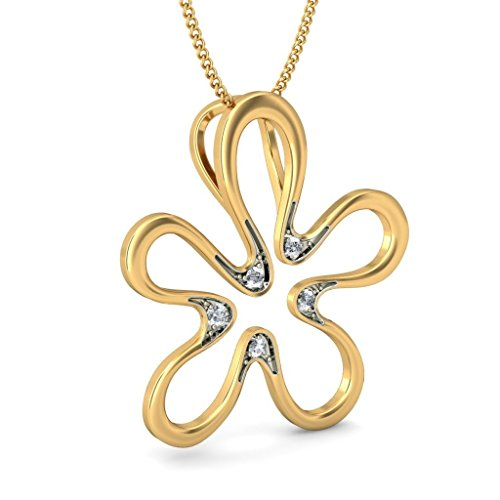Or jaune 18 K 0,08 ct tw Round-cut-diamond (IJ | SI) Pendentif