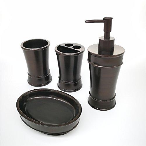 Bronze Ensemble - ZHITOP Ensemble Bath Accessory Set,4 Piece Bath Ensemble, Bath Set Collection Features Soap Dispenser Pump, Toothbrush Holder, Tumbler, Soap Dish(Classic Bronze)