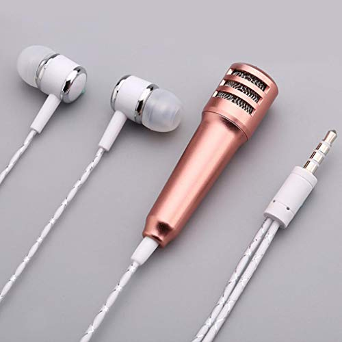 Mini Microphone with Headphone - Karaoke Condenser Mic Recording with Earphone for Voice Recording,Chatting and Singing for iPhone,Samsung,Cellphones,Tablets,Laptops,Computers (Gold)