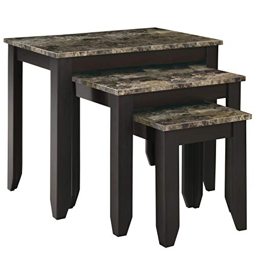 Monarch Specialties I 3-Piece Nesting, Table Set, Marble Look Top Tan/Cappuccino