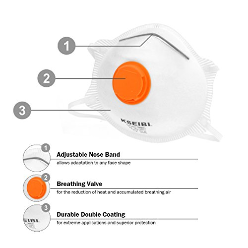 KSEIBI 391015 Safety Particulate Respirator N95 Series W Valve and Adjustable Foam Nose Cushion Dust Mask (15 Pack) by KSEIBI (Image #3)