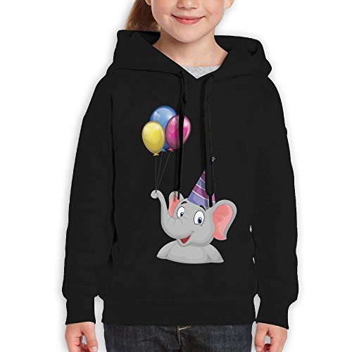 Bruins Piggy Bank (Grass8 The Elephant Has Balloons On Its Nose Youth Custom Hoodie 100% Cotton Fashion Keep Warm Sweatshirt Hooded Pullover For Girls & Boys M Black)