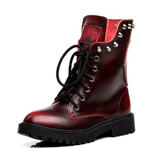 Btrada Dames Winter Warme Klinknagel Laarzen Platte Stevige Hak Casual Veters Korte Schoenen Rood