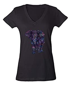 Pastel Elephant Graphic Ladies V-Neck SLIM T-shirt Love of Elephant Shirts