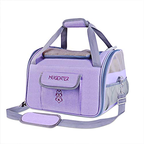 Mugenter Soft-Sided Pet Carrier Travel Bag with Three-Side Mesh Ventilation with Zipper Locks for Dogs, Cats, Small Pets