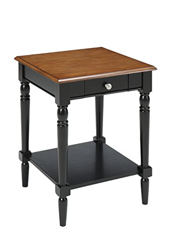 Convenience Concepts French Country End Table with Drawer, Dark Walnut & Black