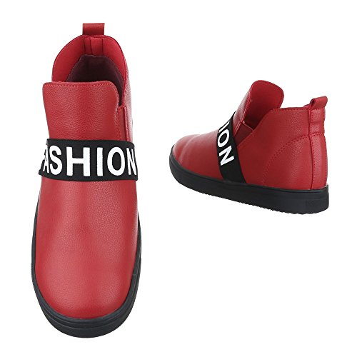 Ital-Design Stiefel & Boots Kinder Schuhe Biker Boots Jungen Stiefeletten Rot