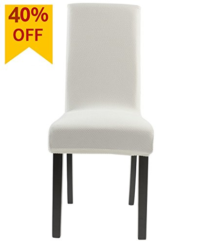 Homluxe Knit Spandex Stretch Dining Room Chair Slipcovers (4, White Knit) (Covers Table Seat)
