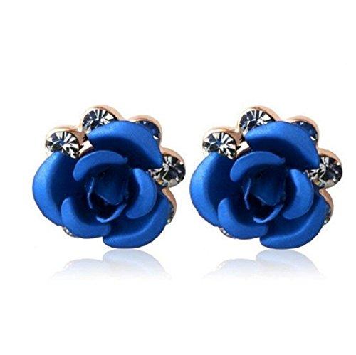 Rigant 18K RGP Crystal Accented Rose Stud Earrings (Blue) M. by Preciastore