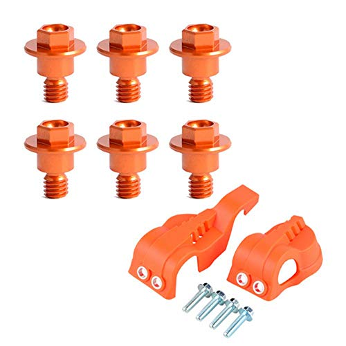 WP Fork Leg Guard Protector Cover Bolt Screw for KTM EXC EXCF XCW for Husqvarna TC TE TX FC FE 125 250 300 350 450 501 2019-2019 Orange 125 Orange Fiber Cable