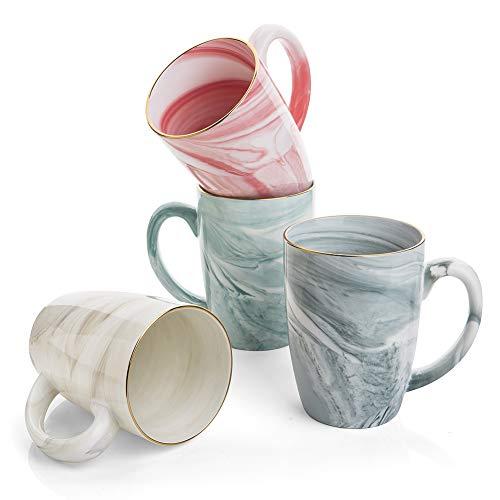 Hoomeet 16 oz Marble Ceramic Coffee Mugs, Set of 4 (Cream+Grey+Green+Pink)