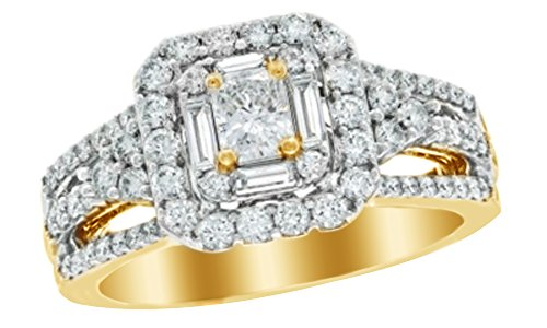White Cubic Zirconia Frame Engagement Ring In 14K Solid Yellow Gold (1.25 Cttw) 14k Yg Frame