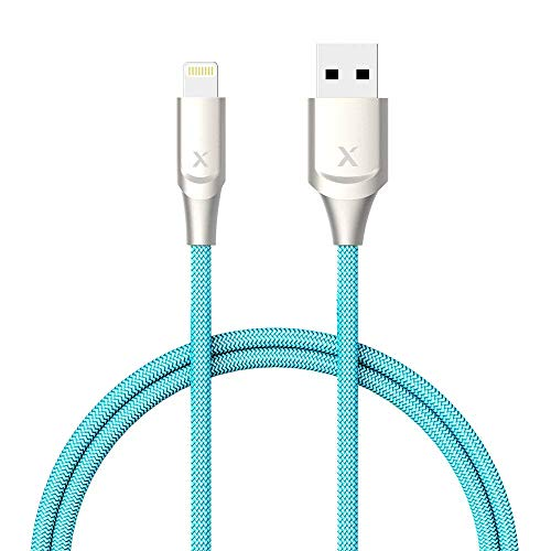 XCENTZ Lightning Cable MFi Certified iPhone Cable Premium Double Nylon Braided Fast Charging Cable for iPhone X/XS/XS Max/XR / 8 Plus / 7/7 Plus / 6s / 6s Plus/iPad/iPod, Blue, 6