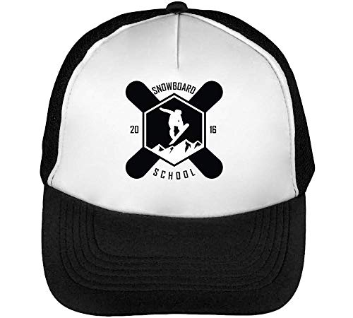 Snowboard Hombre Sport Gorras Beisbol Snapback School Negro Blanco Badge p5qqa