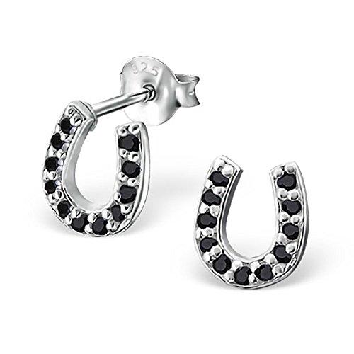 925 Sterling Silver Black CZ Horseshoe Stud Earrings 18403