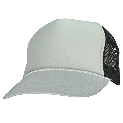 DALIX Two Tone Trucker Hat Summer Mesh Cap with Adjustable Snapback Strap (Gray-Black)