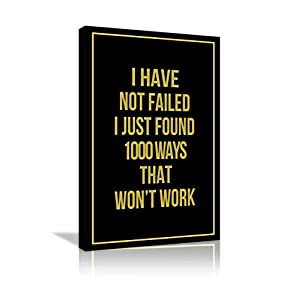 AMEMNY Inspirational Canvas Wall Art Hustle Motivational Quotes Painting Success Entrepreneur Quotes Inspire Failure…