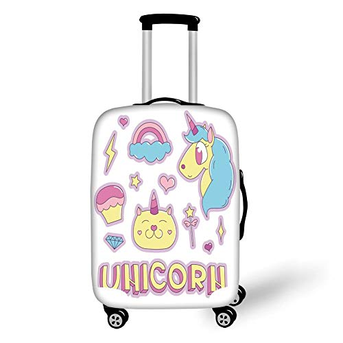 Travel Luggage Cover Suitcase Protector,Unicorn Cat,Collection Fantastic Icons Magic Horse Kitten Cupcake Rainbow Decorative,Sky Blue Pink Light Yellow£¬for Travel