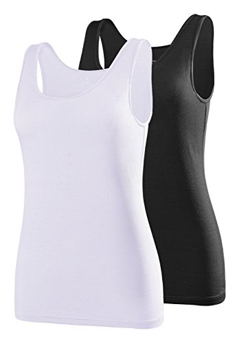 Air Curvey Womens Tank Tops Scoop Neck Tanks Sleeveless Shirts Tank Top Black White S - Modal Scoop Neck Top