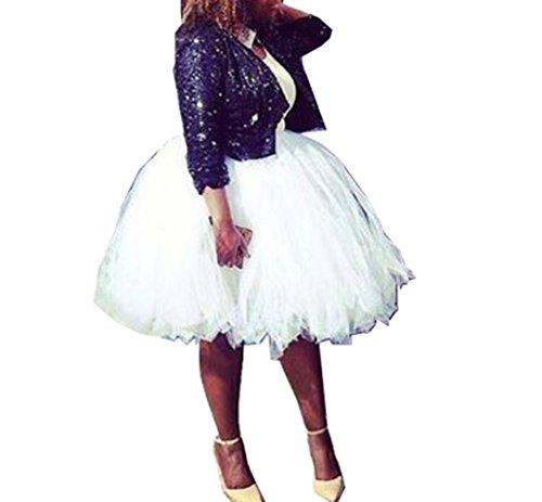 Handmade Full Puffy Ballerina Tutu Tulle Midi Knee-length Skirt Celeb Street Style 50cm (White)