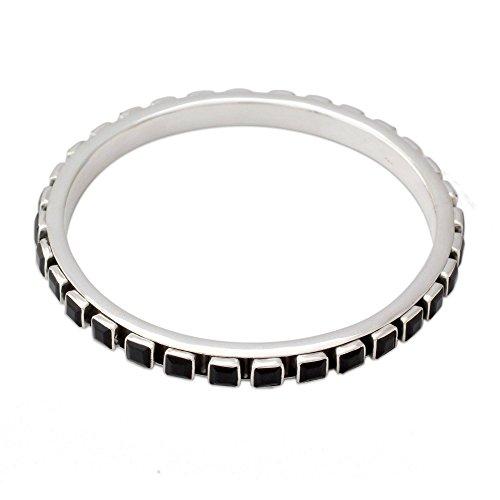 Black Onyx Square Bracelet - NOVICA Onyx .925 Sterling Silver Bangle Bracelet, 7.25
