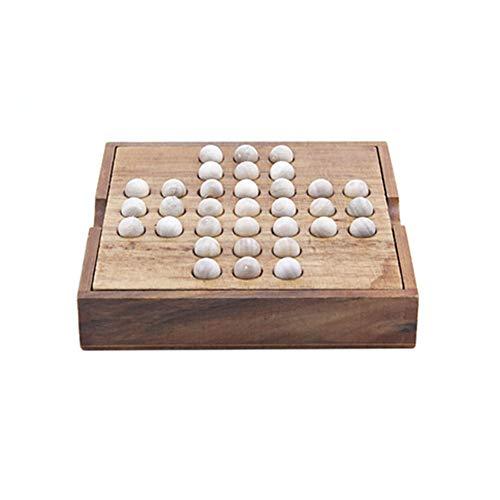 vap26 Divertido Juego de Solitario de Entretenimiento Juguete clásico de Tablero de ajedrez de Madera