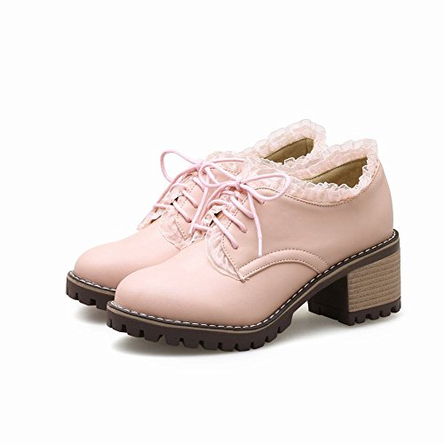 Latasa Dames Dikke Hak Veters Oxfords Roze