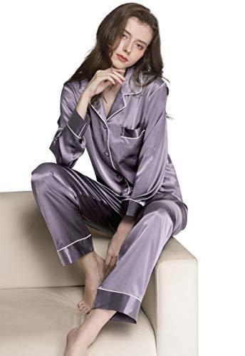 LONXU Womens Silk Satin Pajamas Set Gray M