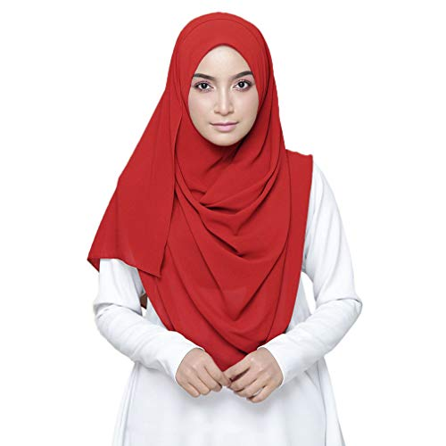 LMVERNA Solid Color bubble Chiffon scarf women Muslim Hijab Long Scarf wrap scarves (Red)