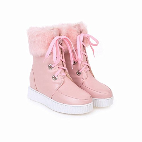 Charm Foot Womens Fashion Lace Up Platform Hidden Heel Short Boots Pink YT2Wk7xrp9