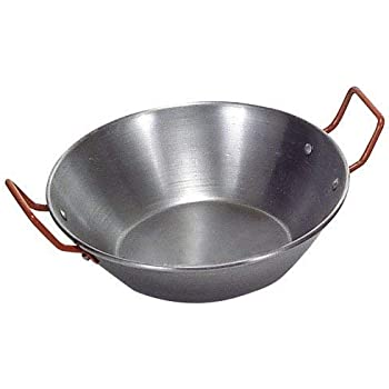 Garcima Paellera Polished Steel Paella Pan with Red Handles 30CM