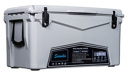 Seavilis Cooler 75qt (Gray)(Including $50.0 Free Accessories) Hanging Wire Basket,Divider and Cup Holder are Free
