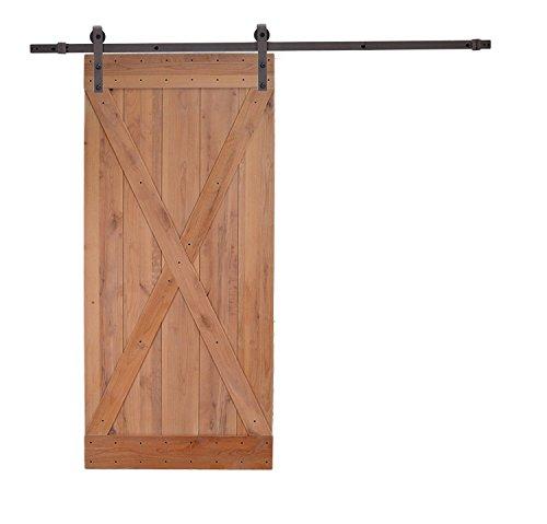 Knotty Alder Natural Primed Wood Barn Door with Antique Bronze Sliding Hardware