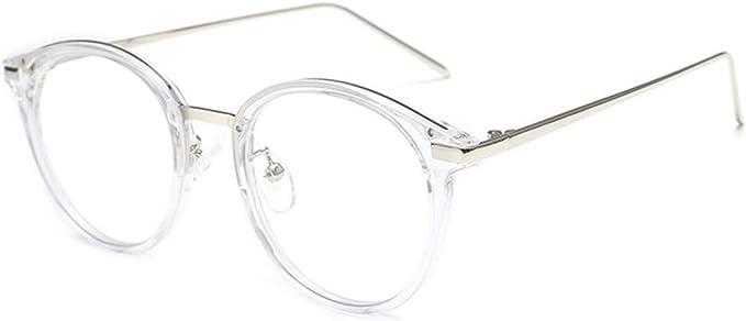 JIUPO Brille Ohne Sehst/ärke mit Nasenpad Retro Vintage 50er Metall+PC Brillenfassung Herren//Damen