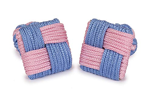 Pink Cufflinks Square Blue Size Blue Knot Men Pink One And Color SoloGemelos Silk tzawxqwR