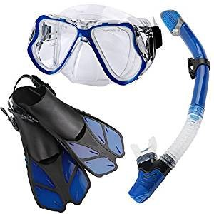 , Diving Mask with Easy Ajustable Strap 180° Panoramic View and Free Breathing Best Anti-Fog Anti-Leak Snorkel Mask for Adults and Kids ()